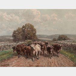 George Arthur Hays (American, 1854-1945)      Cattle on Road