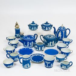 Group of Wedgwood Dark Blue Jasperware