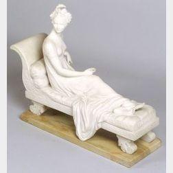 Carved Marble Figure of Madame de Recamier