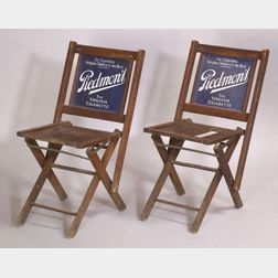 Pair of Piedmont Cigarettes Enameled Metal Panel and Wooden Advertising Folding   Chairs