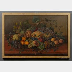 Anglo/American School, 19th Century,      Still Life of a Table Laden with Fruit.