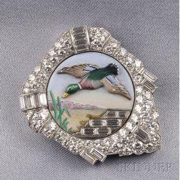 Platinum, Enamel, and Diamond Clip, William Scheer