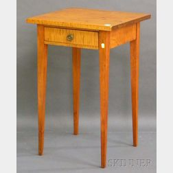 Federal-style Tiger Maple and Birch One-drawer Stand.