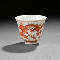 Iron Red Overglazed Porcelain Wine Cup