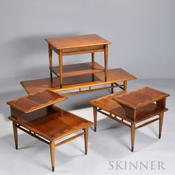 Four Lane Modern Tables, c. 1965, a coffee, a pair of sides, and a single side, each with rectangular tops and banded framework accente