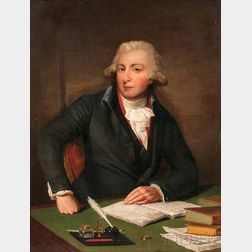British School, 18th Century      Portrait of a Gentleman with an Open Manuscript