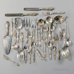 """Whiting """"Lily"""" Pattern Sterling Silver Flatware Service"""
