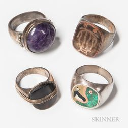 Four Silver Gentlemen's Rings