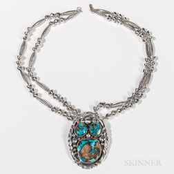 Navajo Silver and Turquoise Necklace