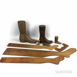 Ten Carved Wood Sock and Boot Forms