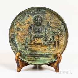 Small Bronze Mirror with Buddha Motif