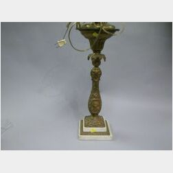 Gilt Bronze and Marble George Washington Table Lamp.