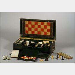 English Green Morocco Covered Game Box