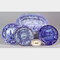Five Transfer Decorated Staffordshire Table Items