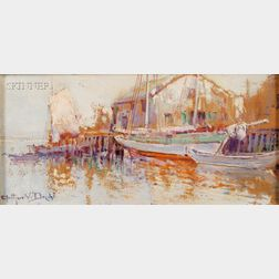 Lot of Two Harbor Views:      Arthur V. Diehl (American, 1870-1929), A Quiet Pier