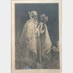 Framed Etching Depicting a Sick Man by Thomas Waterman Wood (American,   1823-1903)