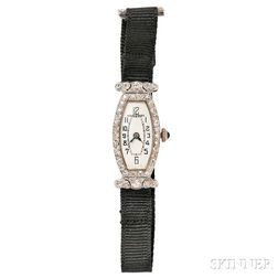 Art Deco Platinum and Diamond Wristwatch, Hardy & Hayes