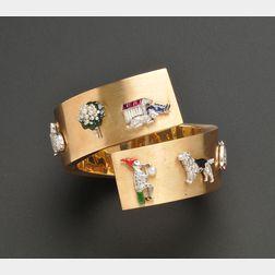 14kt Gold and Gem-set Charm Bypass Bracelet