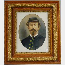 19th Century American School Oval Pastel Portrait of a Union Army Soldier