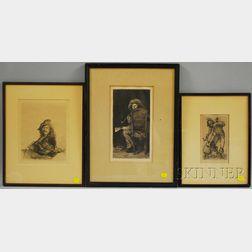 Three Works:      William Merritt Chase (American, 1849-1916), Portrait of Frank Duveneck/The Smoker