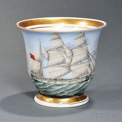 British Ship Lima   Painted Porcelain Presentation Cup