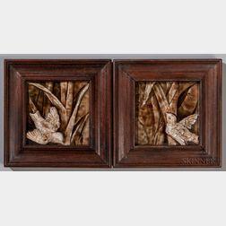 Two Trent Tile Co. Art Pottery Tiles of Birds