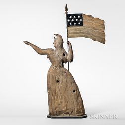 Molded and Painted Sheet Copper Goddess of Liberty Weathervane