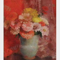 Laura Coombs Hills (American, 1859-1952)      Zinnias and Red