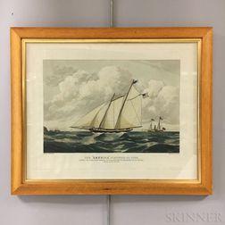 """Framed E. Duncan Lithograph The """"America"""" Schooner   Restrike"""
