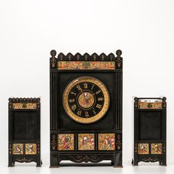 Gilt and Hand-painted Belgian Slate Clock Garniture Set