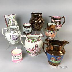 Twenty Copper Lustre Ceramic Items.     Estimate $20-200