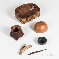 Northeast Basket, Birchbark Box, Two Bowls and Two Tools