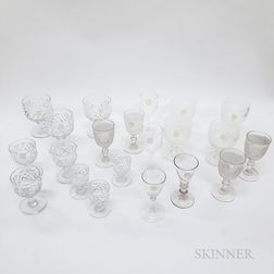 Fifty-three Pieces of Colorless Glass Stemware