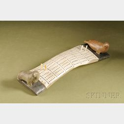 Inuit Stone and Antler Cribbage Board