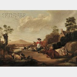School of Jacob Gerritsz van Bemmel (Dutch, 1628-1673)      Hirtin mit eine Herde