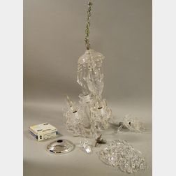 Waterford Attributed Cut Crystal Five-light Chandelier with Prisms