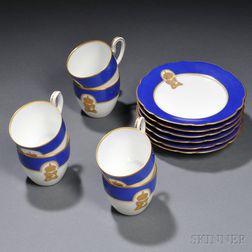 Six Kuznetsov Porcelain Coffee Cups and Saucers