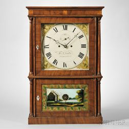 Heman Clark Mahogany Four-column Shelf Clock