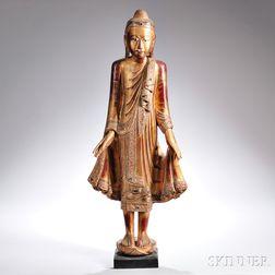 Inlaid Polychrome Buddha