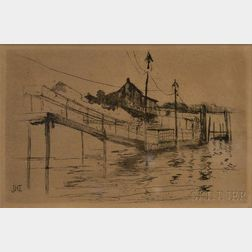 John Henry Twachtman (American, 1853-1902)      Footbridge, Bridgeport