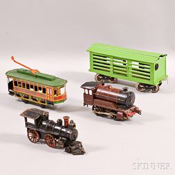 Four Tin and Cast Iron Train-related Items
