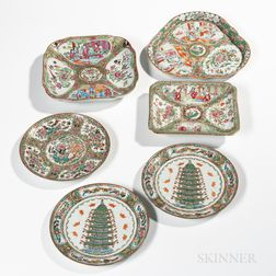 Six Rose Medallion Export Porcelain Table Items