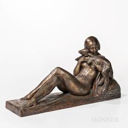Georges Coste (French, 20th Century)    Femme nue à L'agneau