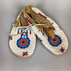 Pair of Contemporary Chippewa Beaded Hide Moccasins