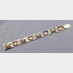 Arts & Crafts Silver, Gold and Garnet Bracelet, Edward Everett Oakes