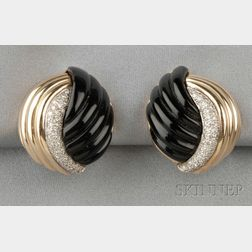 18kt Gold, Onyx, and Diamond Earclips