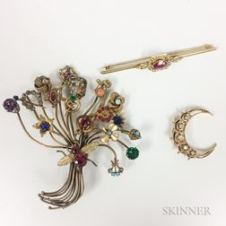 14kt Gold, Ruby, and Seed Pearl Bar Brooch, a 14kt Gold and Diamond Crescent Brooch, and a Costume Stickpin Bouquet Brooch