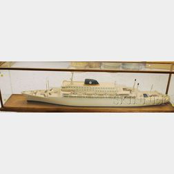 Painted Wooden Ship Model of the Brasil