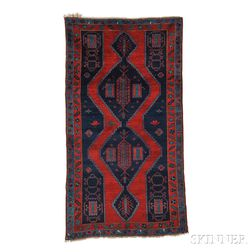 Kazak Rug, Southwest Caucasus, c. 1900, four contiguous stepped navy diamonds inset with highly stylized palmettes, sawtooth rectangles