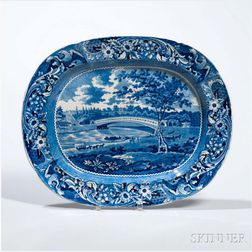 Staffordshire Historical Blue Transfer-decorated Upper Ferry Bridge Over the River, Schuylkill, Platter